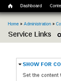 Service Links Configuration Page